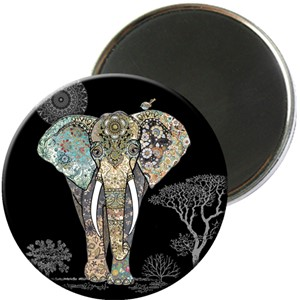 Magnet rund 56mm, Jewels, elefant