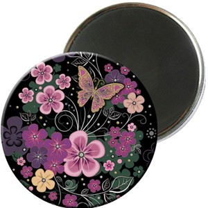 Magnet rund 56mm, Jewels, rosa blomster