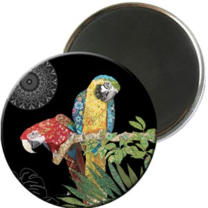 Magnet rund 56mm, Jewels,2 papegøyer