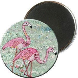Magnet rund 56mm, Amy's, flamingoer
