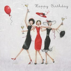 "Doble kort 15x15cm,""Ladies Who Love Life"", Happy Birthday to"