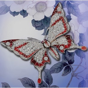 Kortpakke, 4 kort 110x110, Ling Design, Red Tipped Butterfly