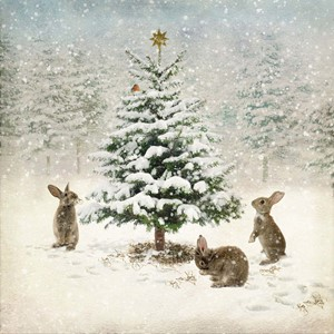 "Doble kort 152x152, ""Winter landscapes"", Three Bunnies"