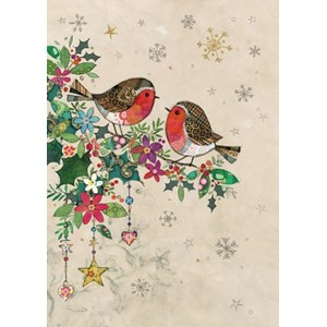 Doble julekort 12x17, Two Robins