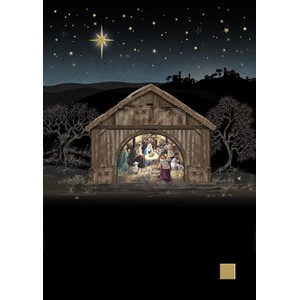 Doble julekort 12x17, Jewels, Nativity Stable