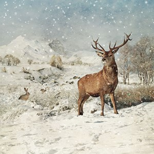 "Doble kort 152x152, ""Winter landscapes"", Stag and Hares"