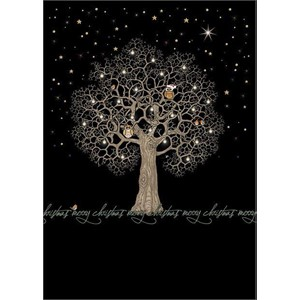 Doble julekort 12x17, Jewels, Night Tree