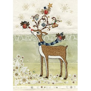 Doble julekort 12x17, Amy's Cards, Rudolph Adornment