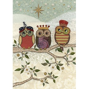 Doble julekort 12x17, Amy's Cards, Three Wise Owls