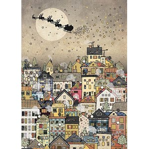 Doble julekort 12x17, Paper and Foil, Town Sleigh