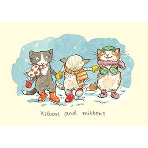Julekort,Two Bad Mice, Kittens And Mittens