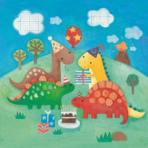 Doble kort,10x10x, Maddicott,Piece of Cake, Dinosaur Birthda