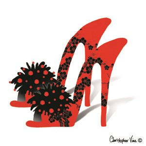 "Kort 100x100, Christopher Vine Design, ""Red Shoes"""