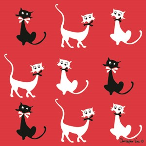 "Kort 100x100, Christopher Vine Design, ""Cats"""