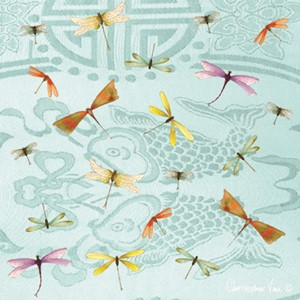 "Kort 100x100, Christopher Vine Design, ""Blue Dragonflies"""