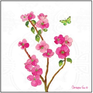 "Kort 100x100, Christopher Vine Design, ""Chinese Flowers"""