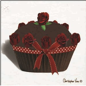 "Kort 100x100, Christopher Vine Design, ""Rose Choc Cupcake"""