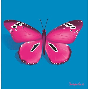 "Kort 100x100, Christopher Vine Design, ""Pink Butterfly"""