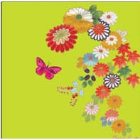 "Kort 100x100, Christopher Vine Design, ""Chinese Flowers on G"
