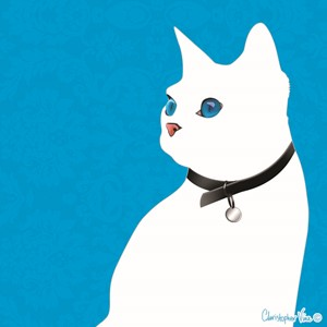 "Kort 100x100, Christopher Vine Design, ""White Cat"""