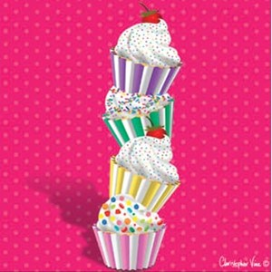 "Kort 100x100, Christopher Vine Design, ""Towering Cupkakes"""