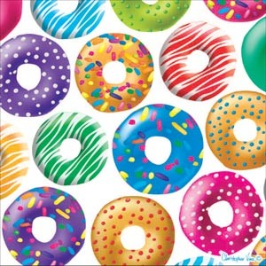 "Kort 100x100, Christopher Vine Design, ""Doughnut Delight"""
