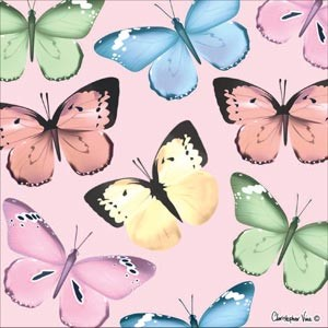 "Kort 100x100, Christopher Vine Design, ""Spring Butterfly"""
