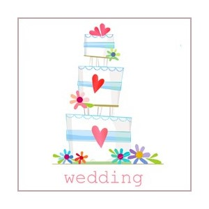 Minkort 71x71mm, The Square Card Co, Wedding Cake