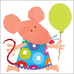 Minkort 71x71mm, The Square Card Co, Mouse with Balloon