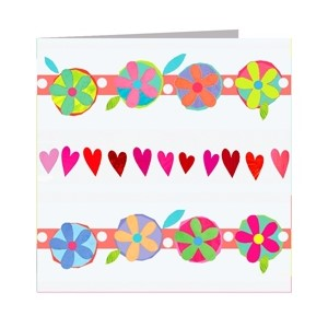 Minkort 71x71mm, The Square Card Co, Hearts and Flowers
