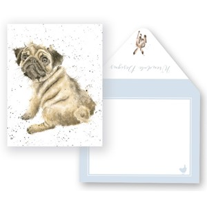 Minikort, Wrendale Design, 91x74mm, Pug Love