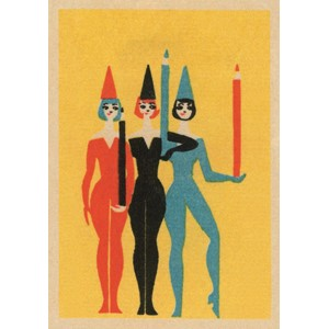 Doble kort,120x170, Vintage Matchbox, Performers with Pencil