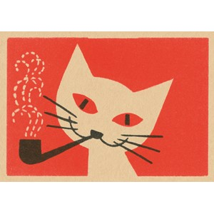 Doble kort,120x170, Vintage Matchbox, Smoking Cat