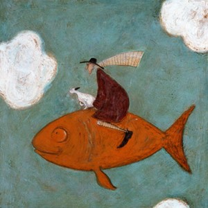 Kunstkort 160x155mm, Sam Toft,  It's a lo-o-ong way down Dor