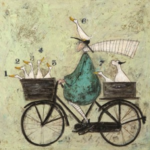 Kunstkort 160x155mm, Sam Toft,  All aboard the ducky express
