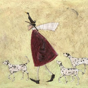 Kunstkort 160x155mm, Sam Toft,  Walking with the spotty ones