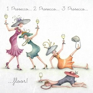 "Doble kort 15x15cm,""Ladies Who Love Life"", 1 Prosecco,2 Pros"
