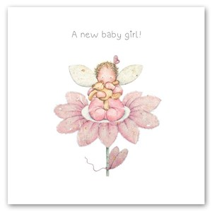 "Doble kort 150x150mm, ""Little Whispers"", baby i blomst, rosa"