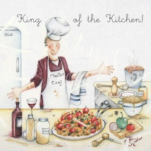 "Doble kort 15x15cm,""Men Who Love Life"", King of the Kitchen"