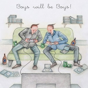 "Doble kort 15x15cm,""Men Who Love Life"", Boys will be Boys"