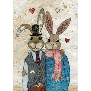 Doble kort 167x118, Amy`s Cards, Rabbit Couple