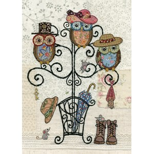 Doble kort 167x118, Amy`s Cards, Owl Hatstand