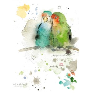 "Doble kort Bug Art, 120x170, ""Critters"", Lovebirds"