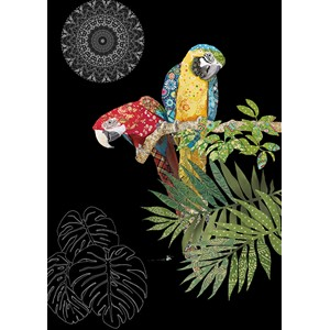 Kort BUG ART,Jewels, Two Parrots