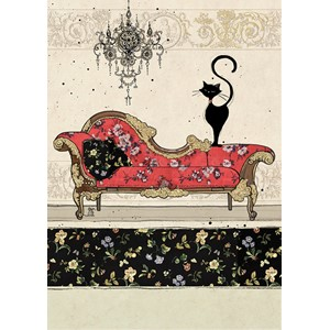 Doble kort 167x118, Black Ink, Red Chaise Cat