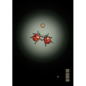 "Kort BUG ART,Jewels ""Ladybirds in Love"""