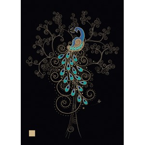 "Kort BUG ART,Jewels ""Peacock in a Tree"""