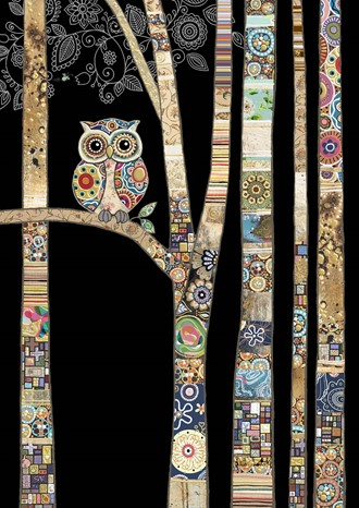 Kort BUG ART,Jewels, Owl Birch
