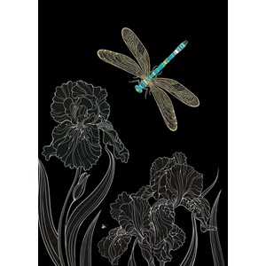 Kort BUG ART,Jewels, Dragonfly Irises