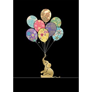 Kort BUG ART, Jewels, Elephant Balloons
